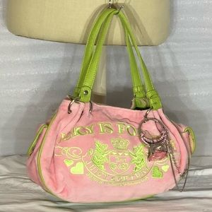 Juicy  Couture Pink & Green Velour Bag